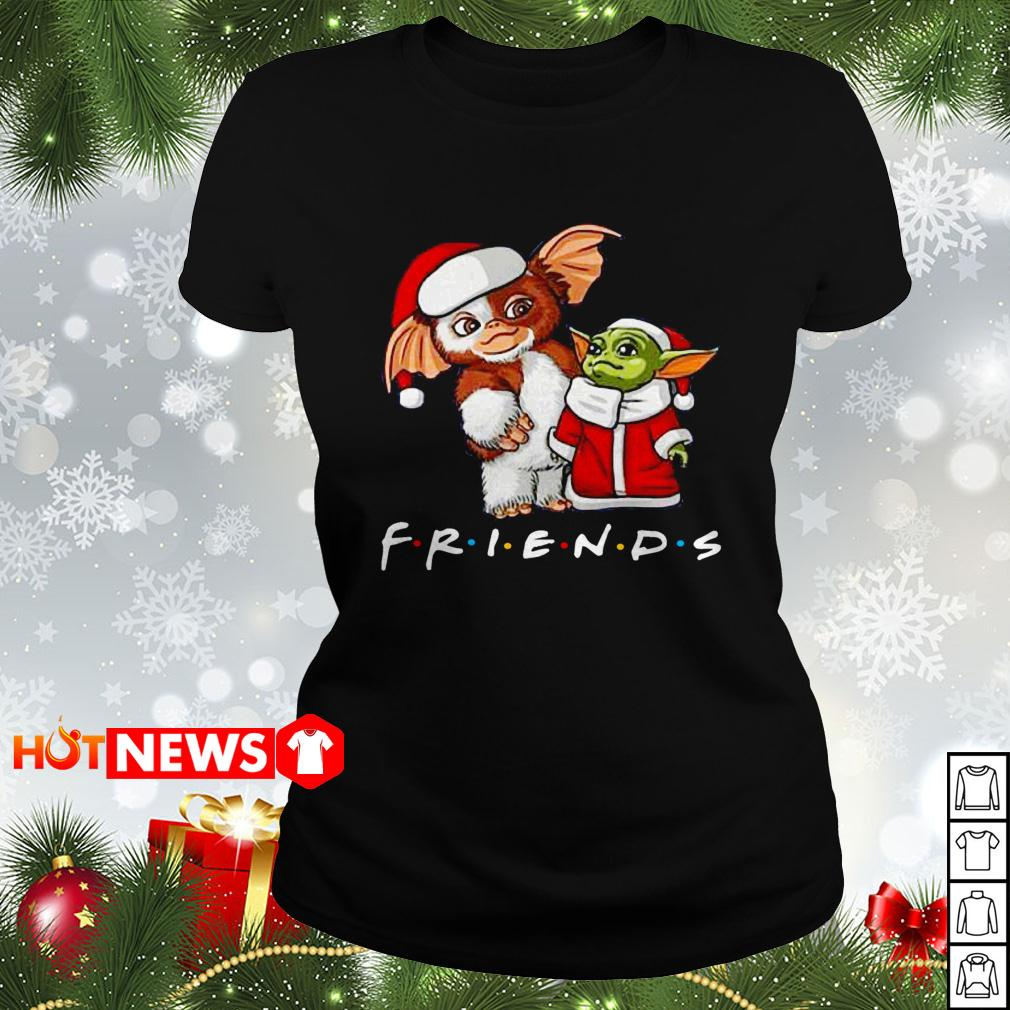 Baby Yoda and Gizmo Santa Friends TV show Christmas Ladies tee