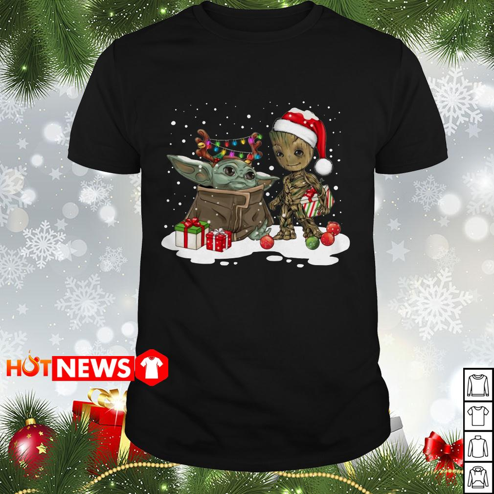 Baby Yoda and Groot Santa Christmas Guys shirt