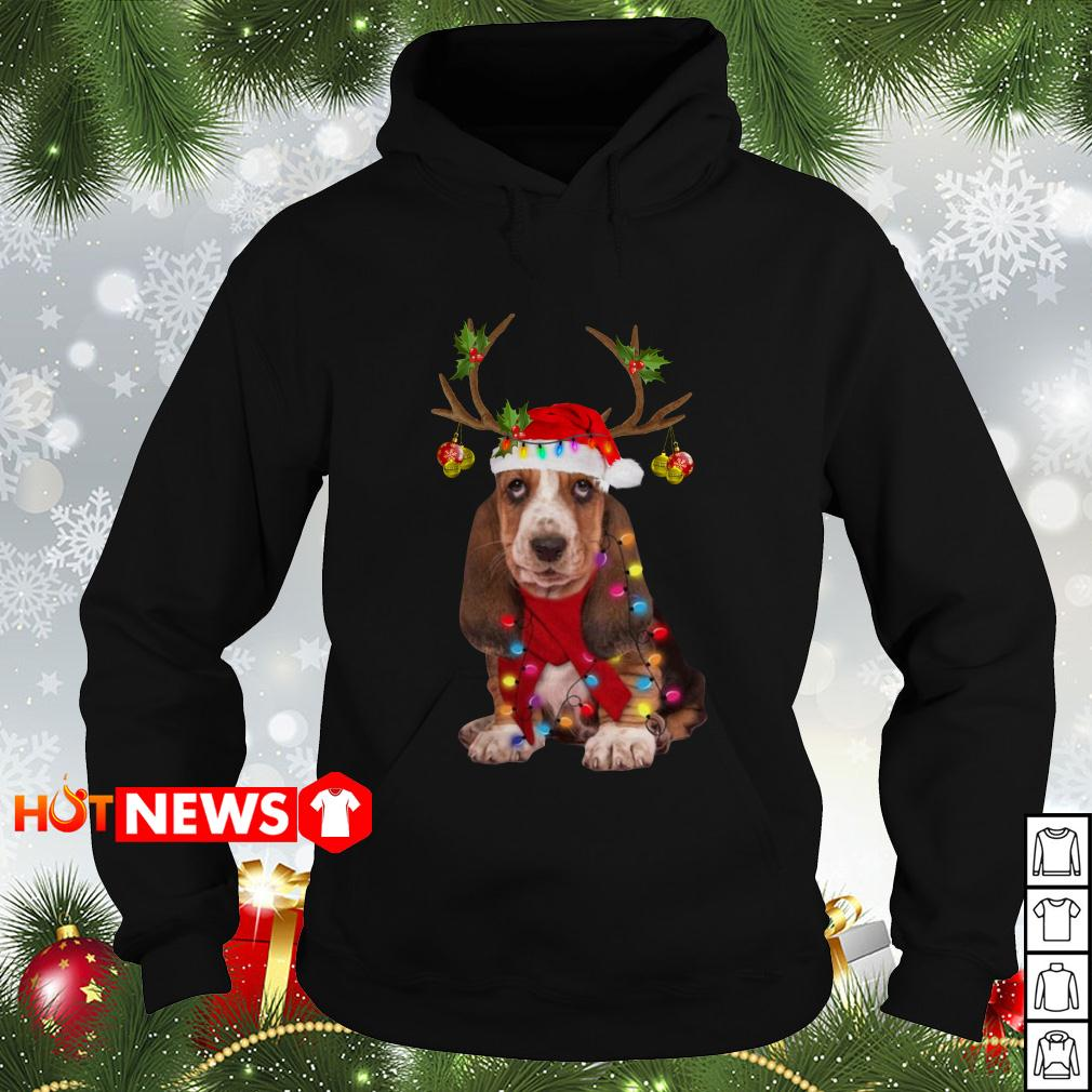 Basset hound reindeer Christmas Hoodiie