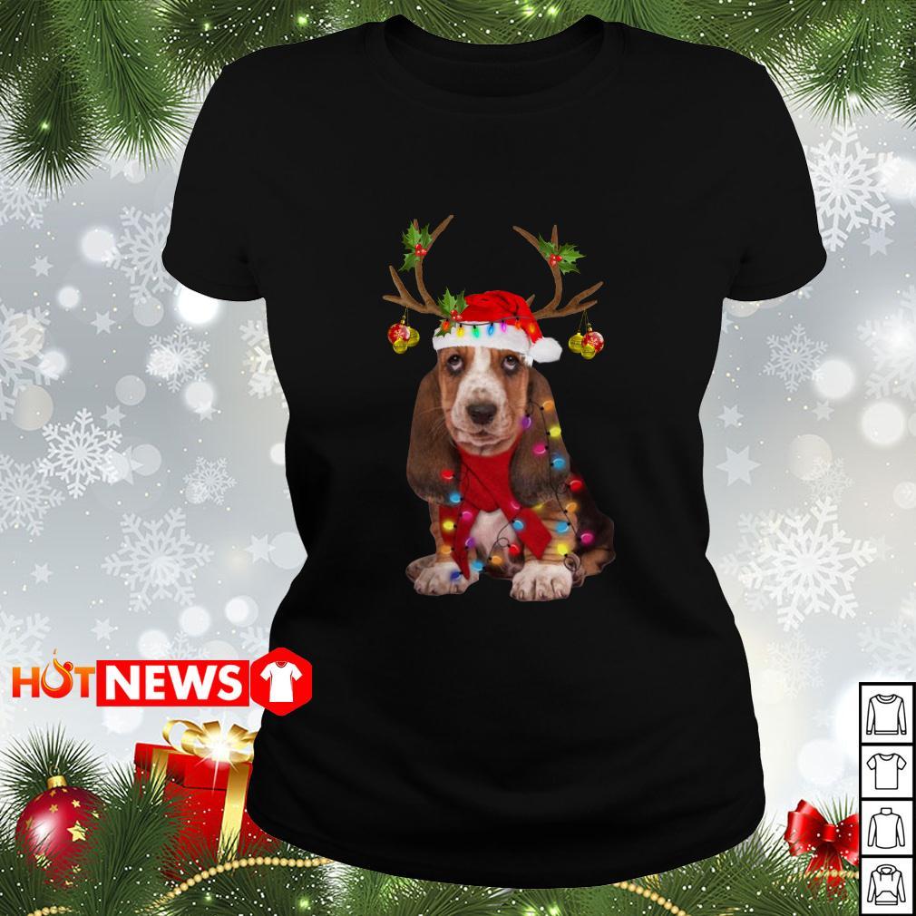 Basset hound reindeer Christmas Ladies tee