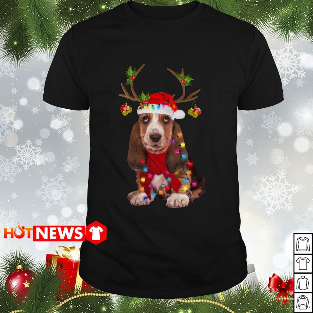 Basset hound reindeer Christmas Guys shirt