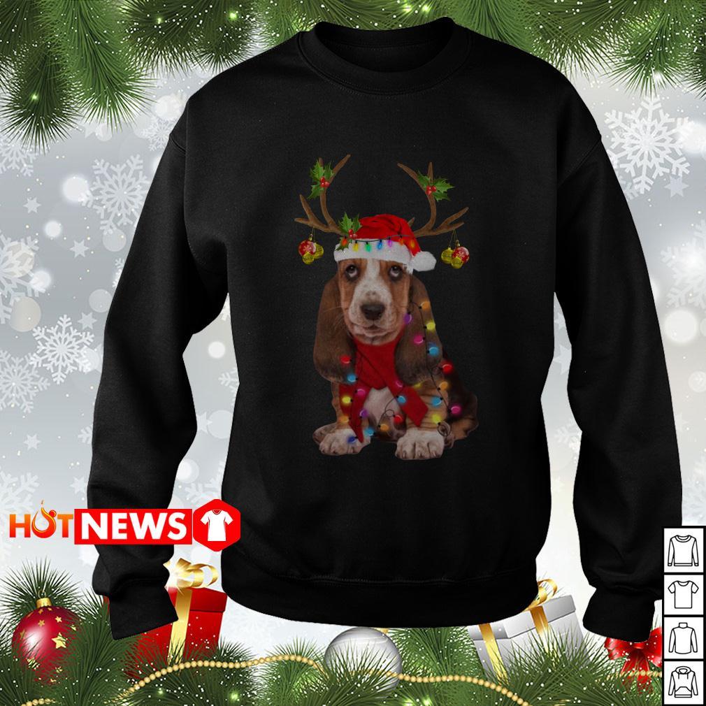 Basset hound reindeer Christmas sweater