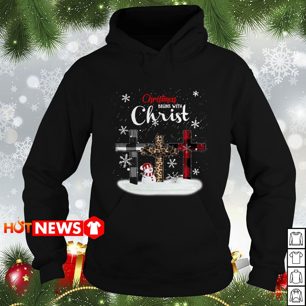 Christmas begins with Christ snowman Hoodie