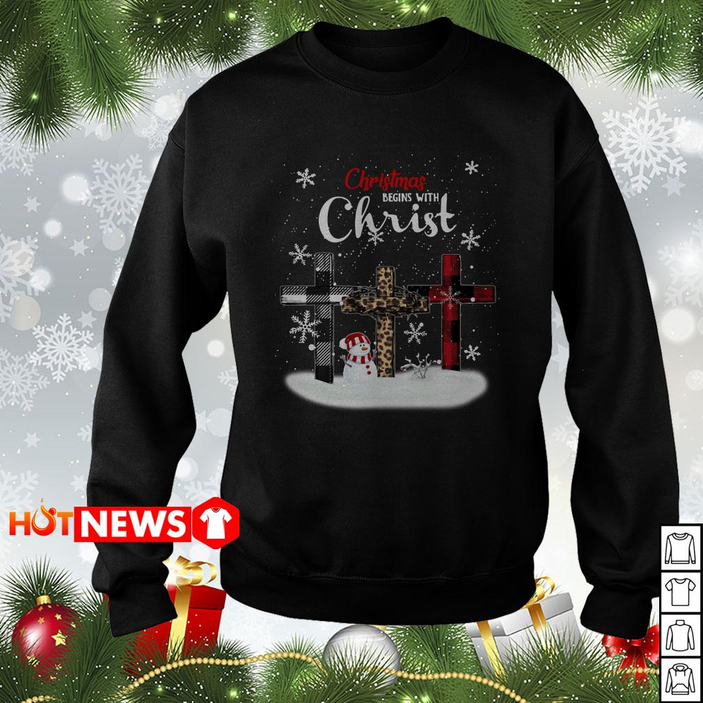 Christmas begins with Christ snowman sweater