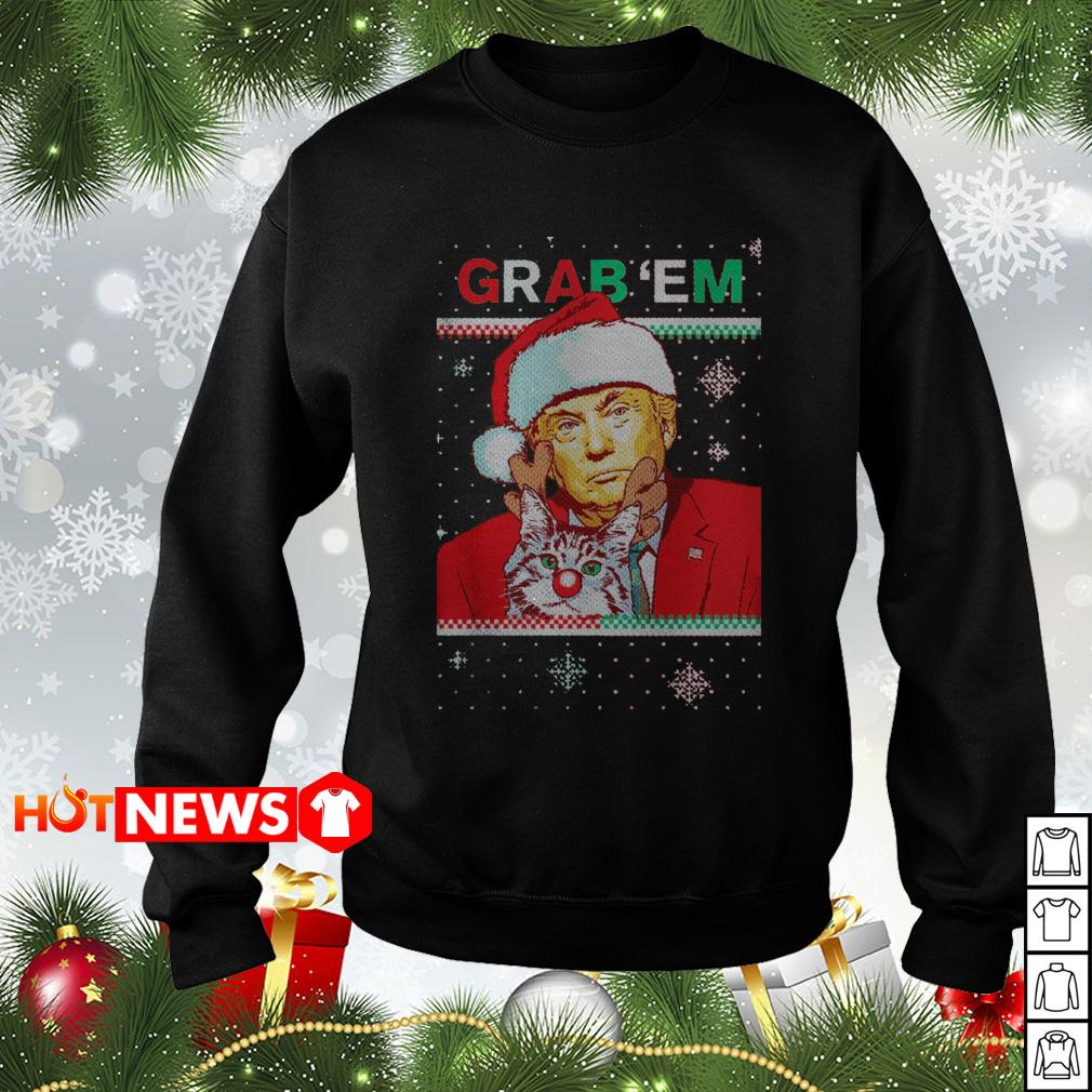 Donald Trump Santa Cat Reindeer Grab 'em Christmas sweater