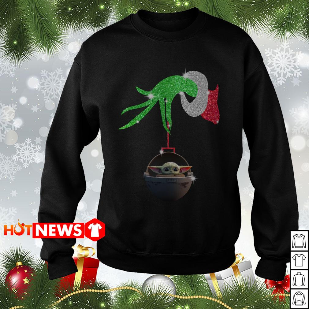 Grinch hand holding Baby Star Wars Christmas sweater
