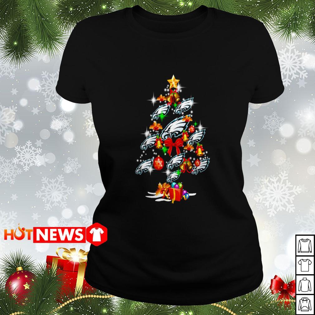 Philadelphia Eagles Christmas tree Ladies tee