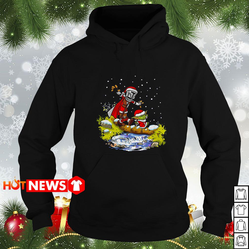 Santa Yoda and Mandalorian Christmas Hoodie
