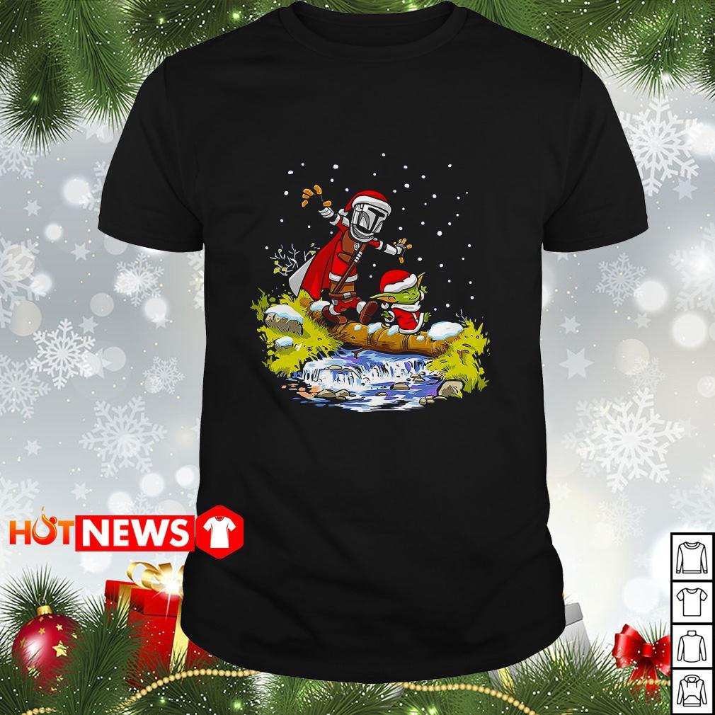 Santa Yoda and Mandalorian Christmas Guys shirt