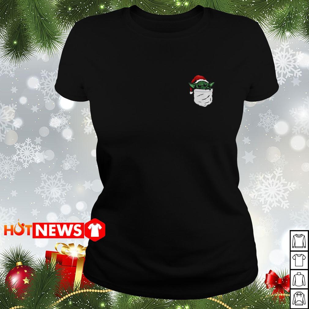 Santa Yoda in the pocket Christmas Ladies tee