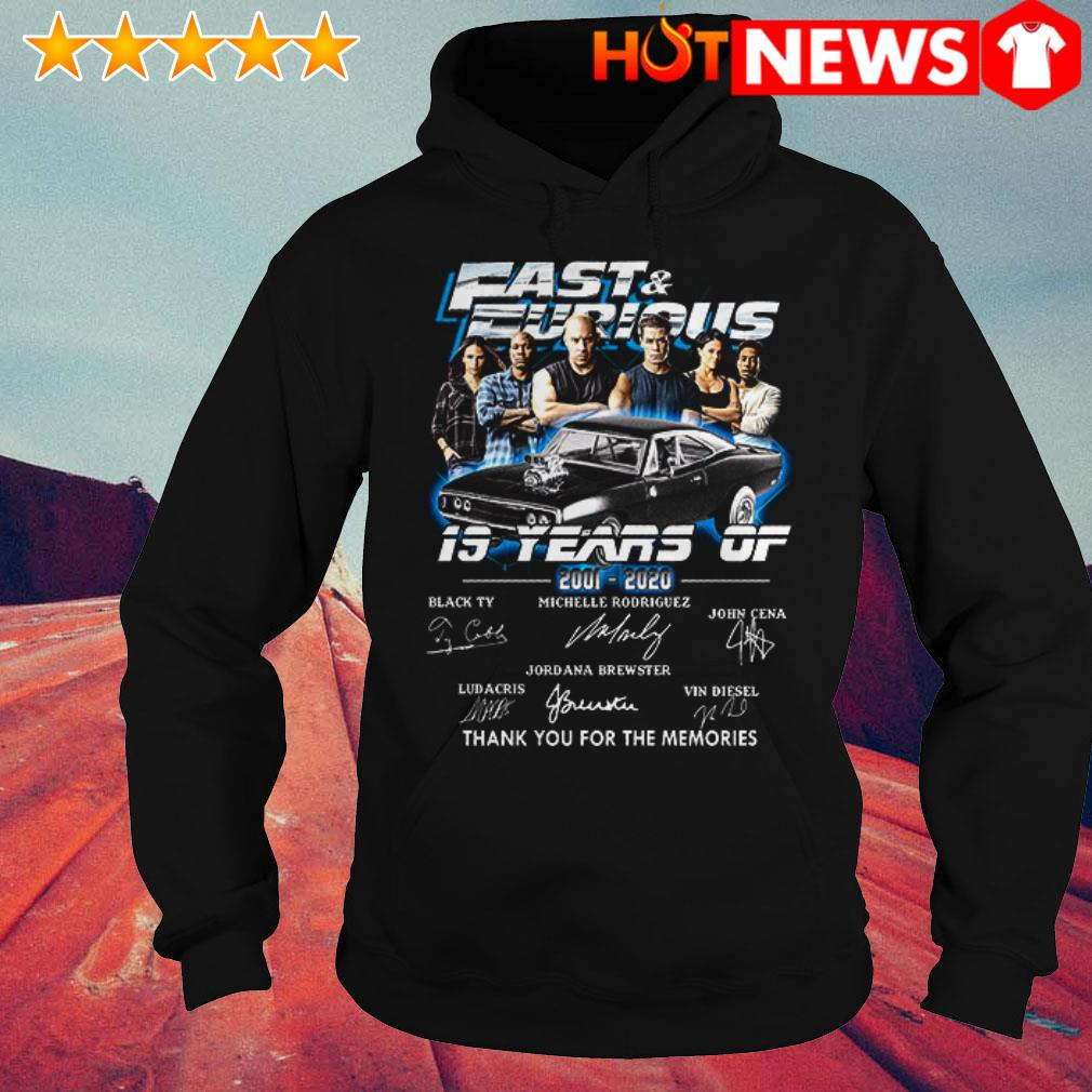 19 Years of Fast and Furious 2001-2020 thank you for the memories signatures Hoodie