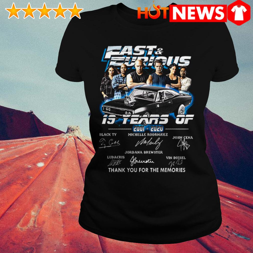 19 Years of Fast and Furious 2001-2020 thank you for the memories signatures Ladies Tee
