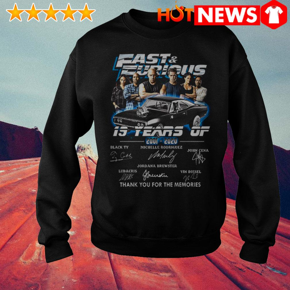 19 Years of Fast and Furious 2001-2020 thank you for the memories signatures Sweater