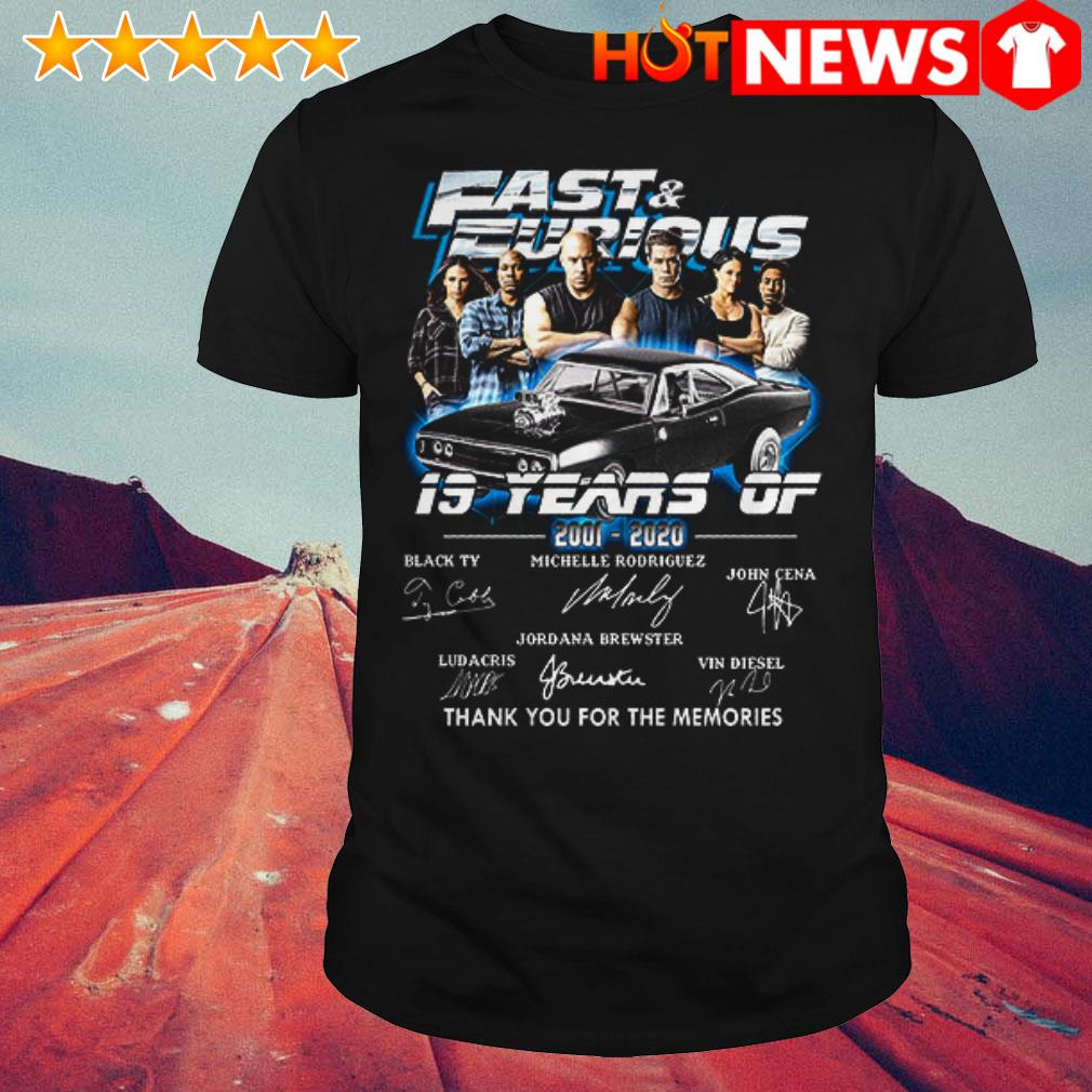 19 Years of Fast and Furious 2001-2020 thank you for the memories signatures shirt