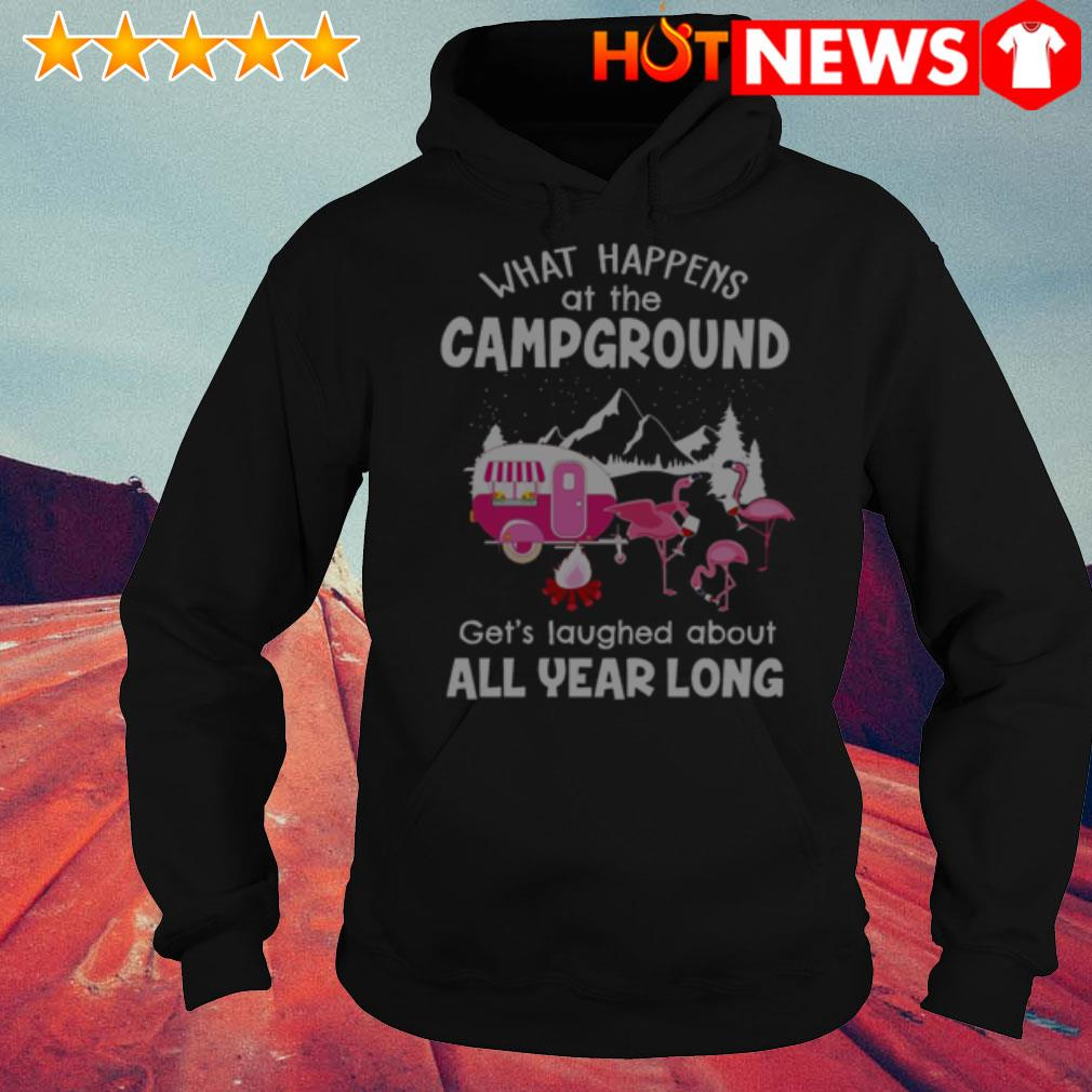 Flamingos what happens at campground get's laughed about all year long Hoodie