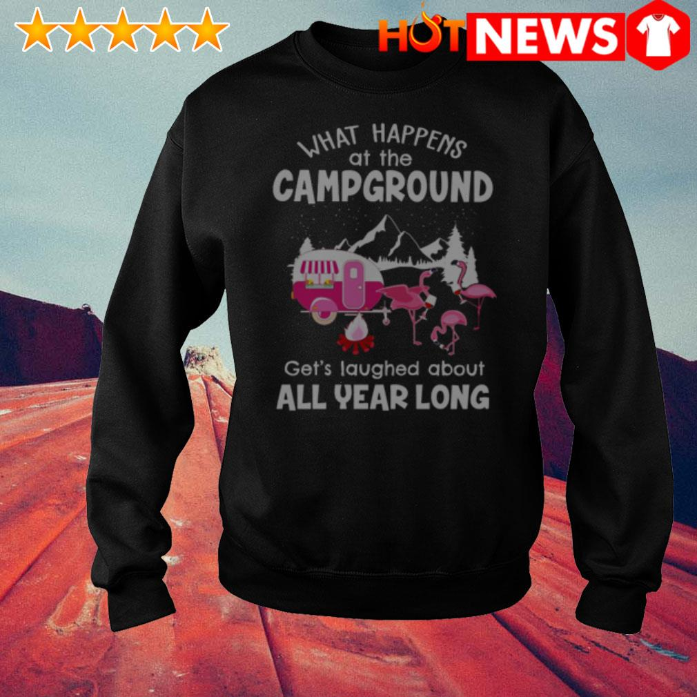 Flamingos what happens at campground get's laughed about all year long Sweater