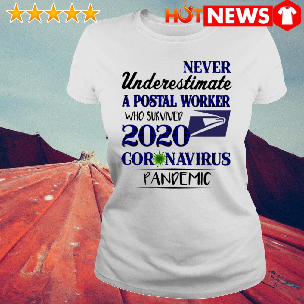 2020 Coronavirus Pandemic never underestimate a postal worker who survived Ladies Tee