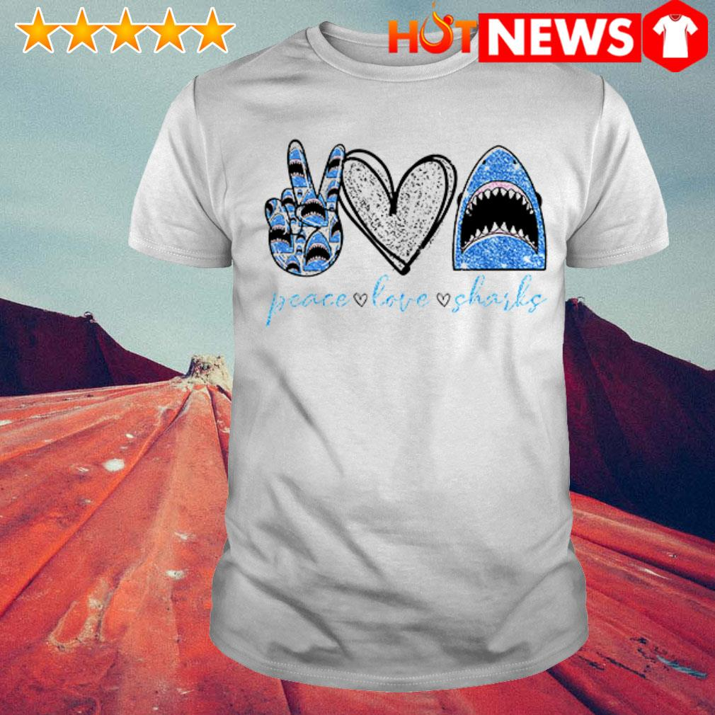 Awesome Diamond peace love sharks shirt