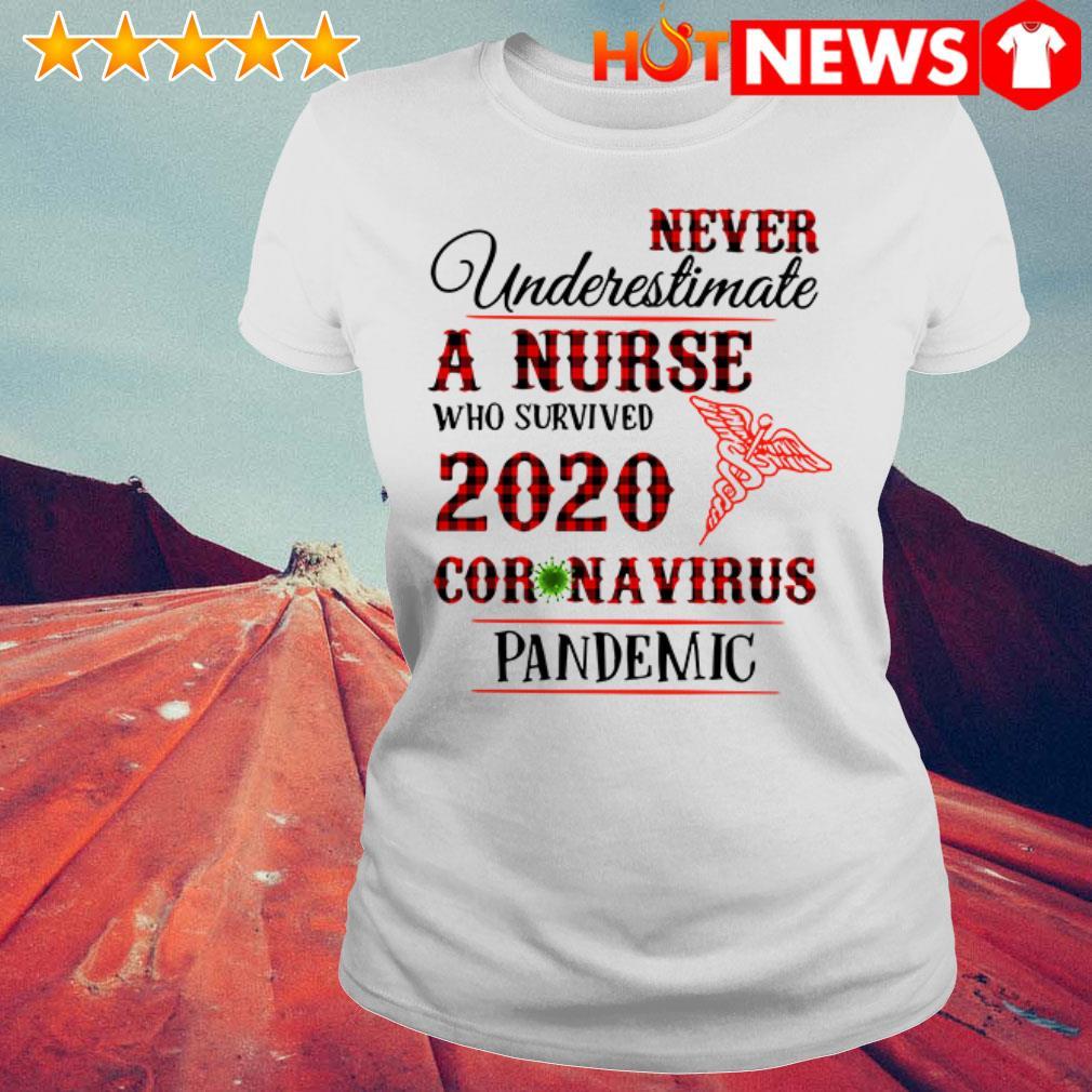 Awesome Never underestimate a nurse 2020 Coronavirus pandemic Ladies Tee
