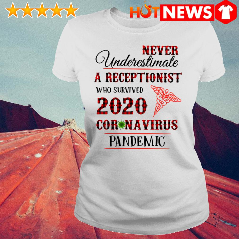 Awesome Never underestimate a receptionist 2020 Coronavirus pandemic Ladies Tee