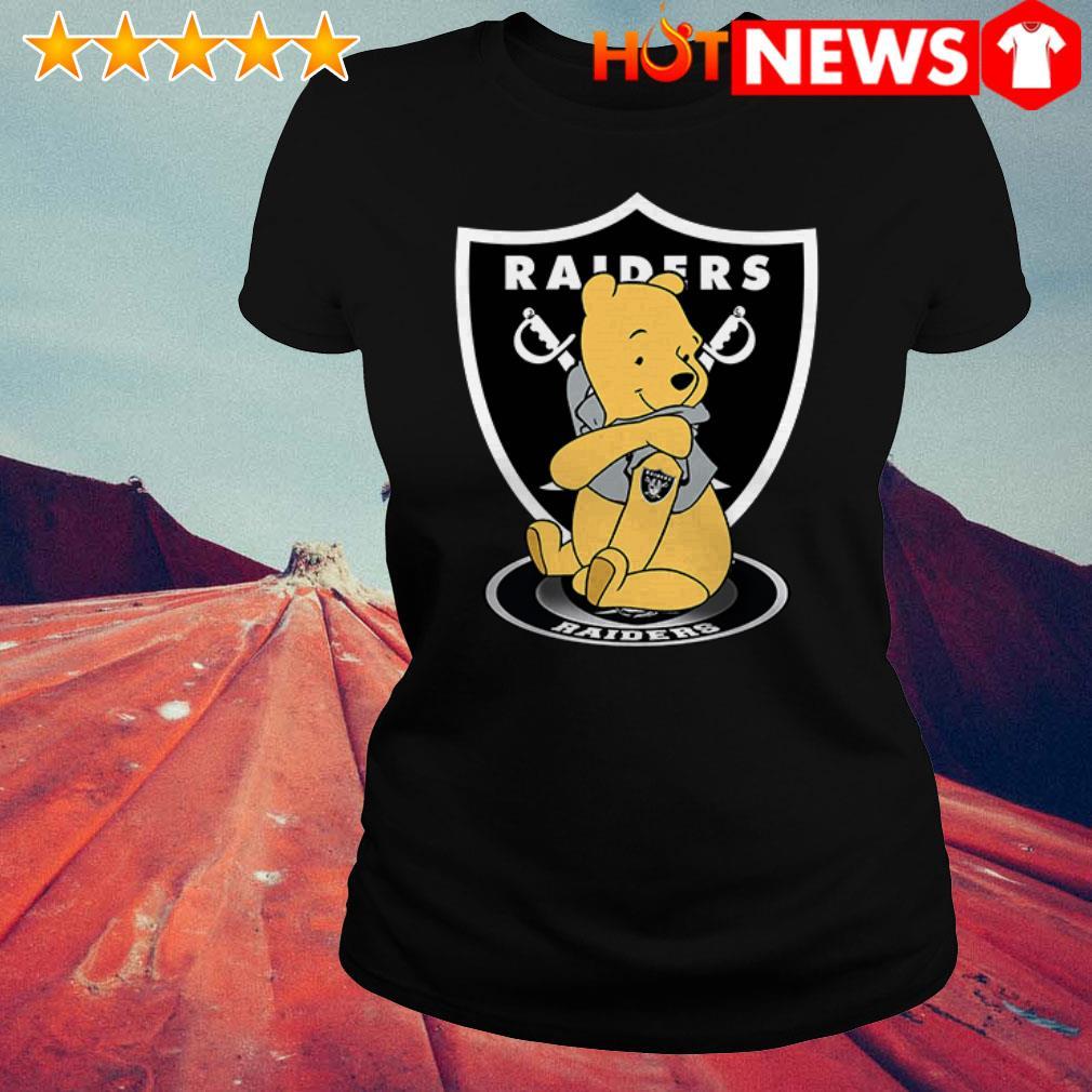 Awesome Winnie the Pooh tattoos Oakland Raiders Ladies Tee