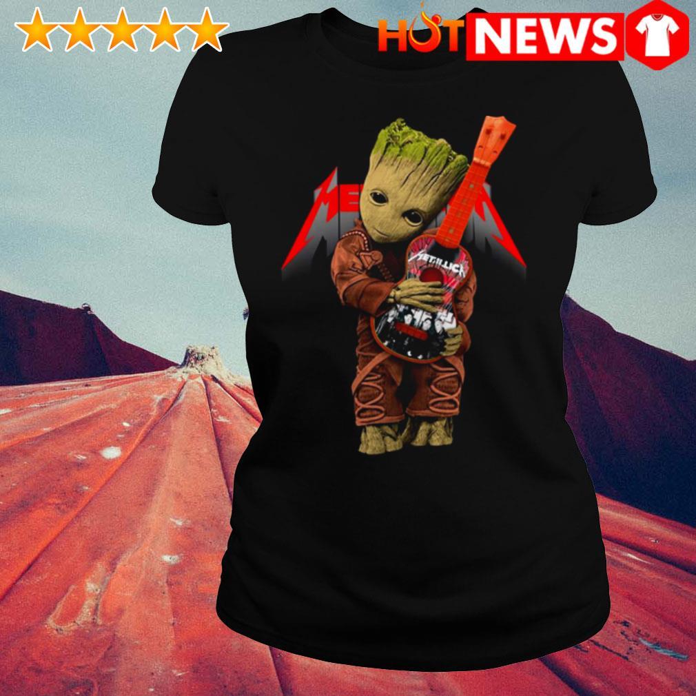 Baby Groot hug Metallica Guitar  Ladies Tee