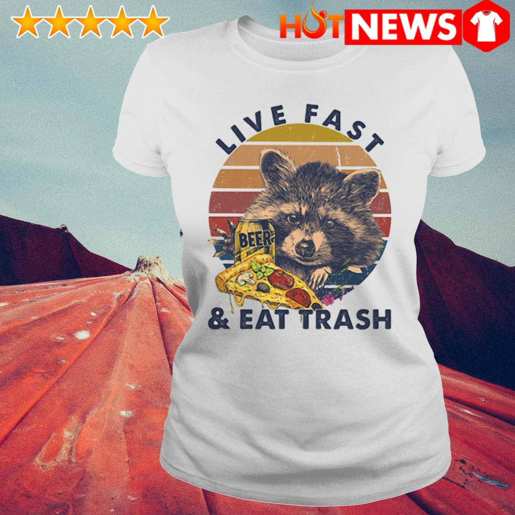 Beer Racoon live fast and eat trash retro Ladies Tee
