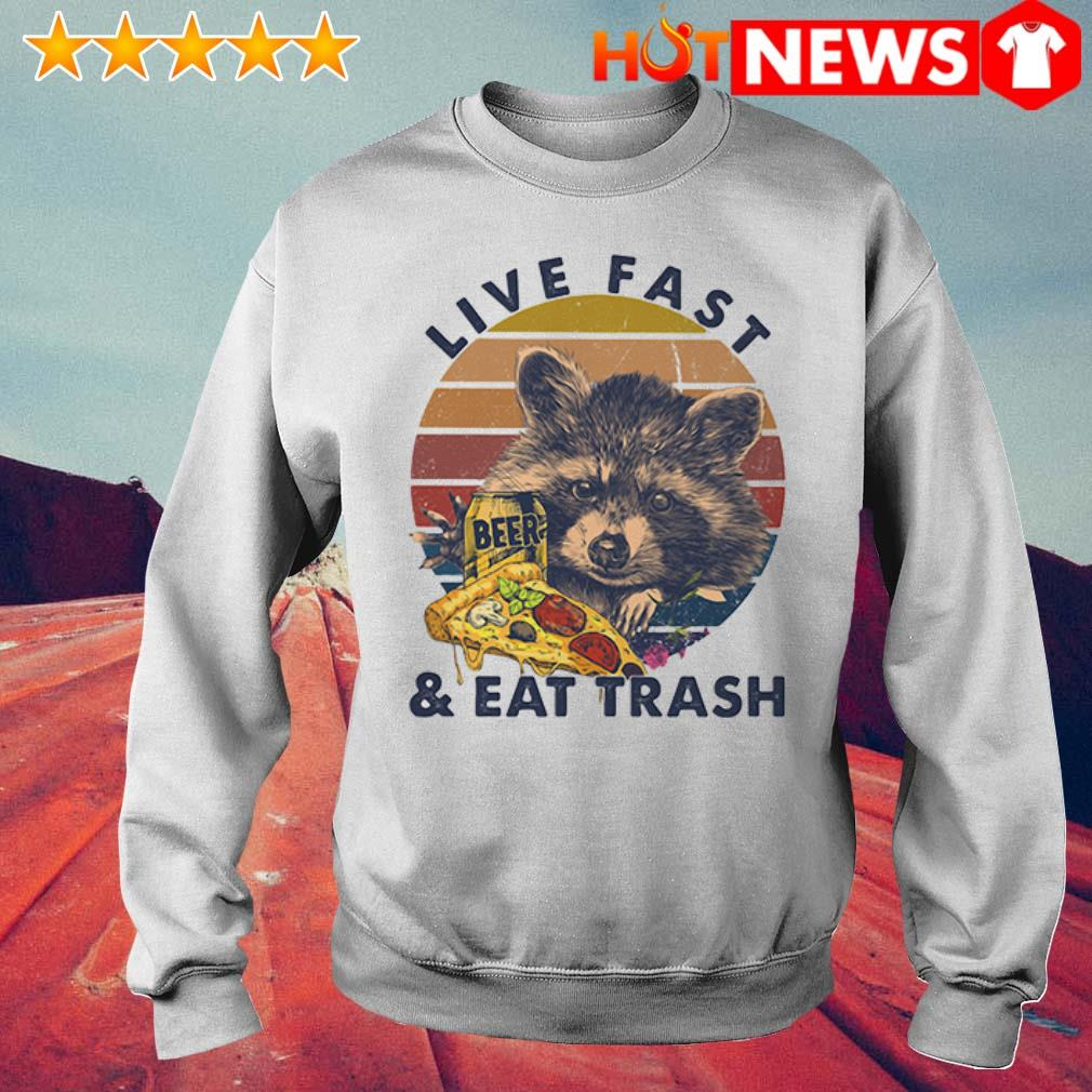 Beer Racoon live fast and eat trash retro Sweater