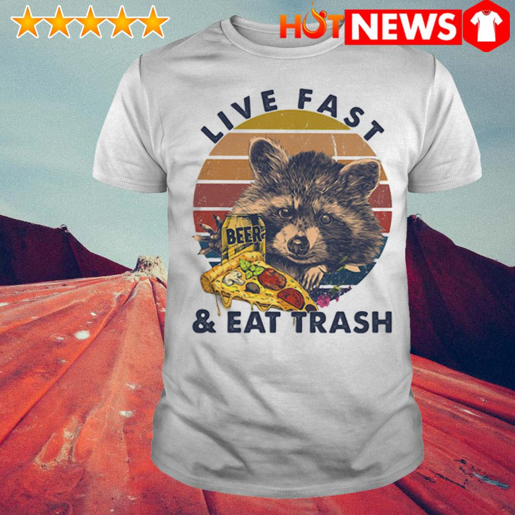 Beer Racoon live fast and eat trash retro shirt