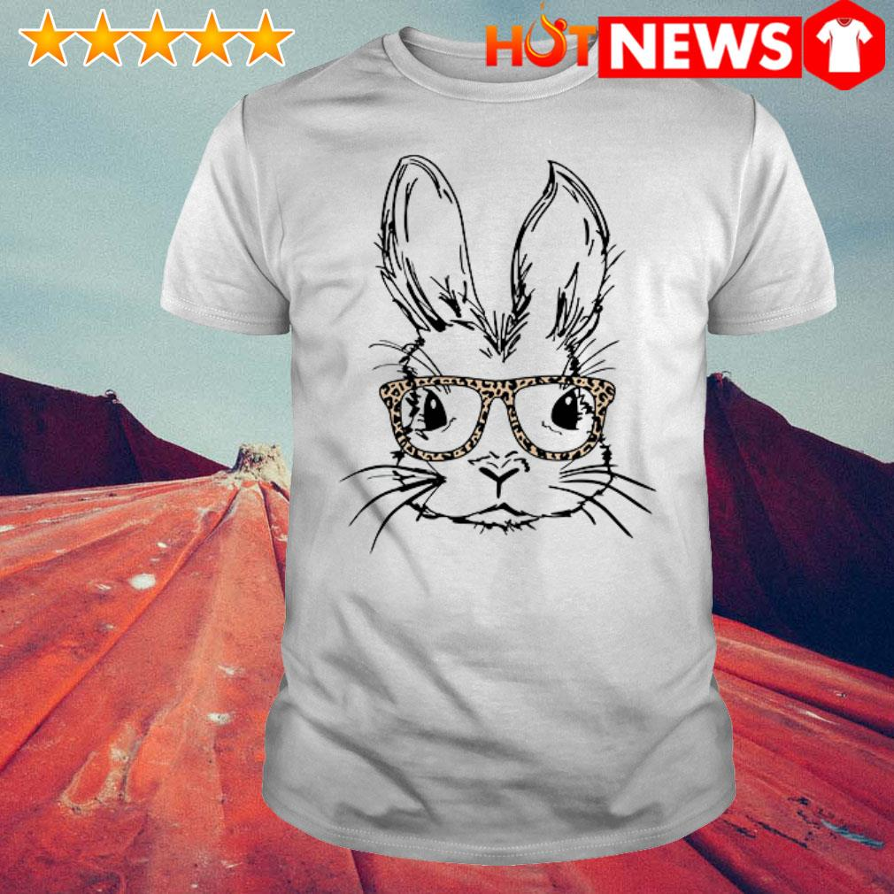 Rabbit wearing sunglasses Leopard Easter day shirt