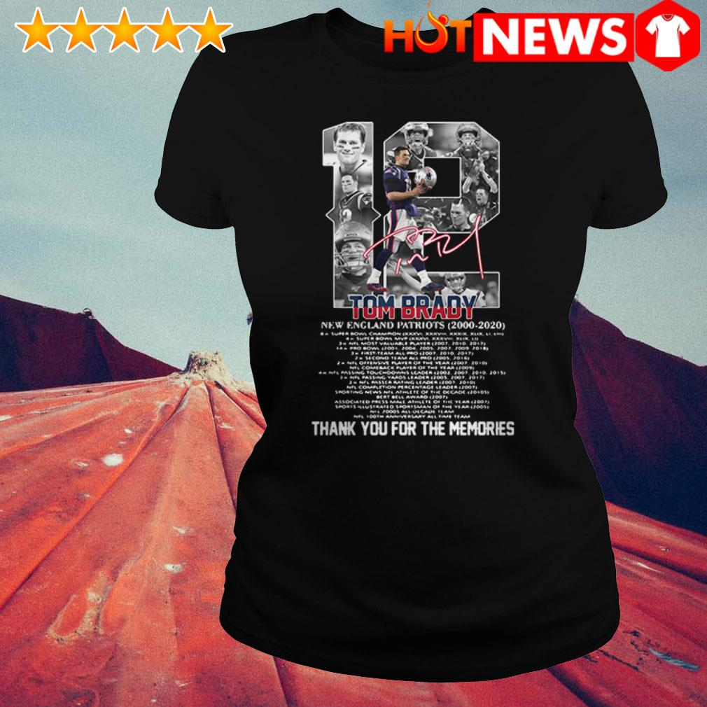 Thank you for the memories 12 Tom Brady New England Patriots 2000-2020 signature  Ladies Tee
