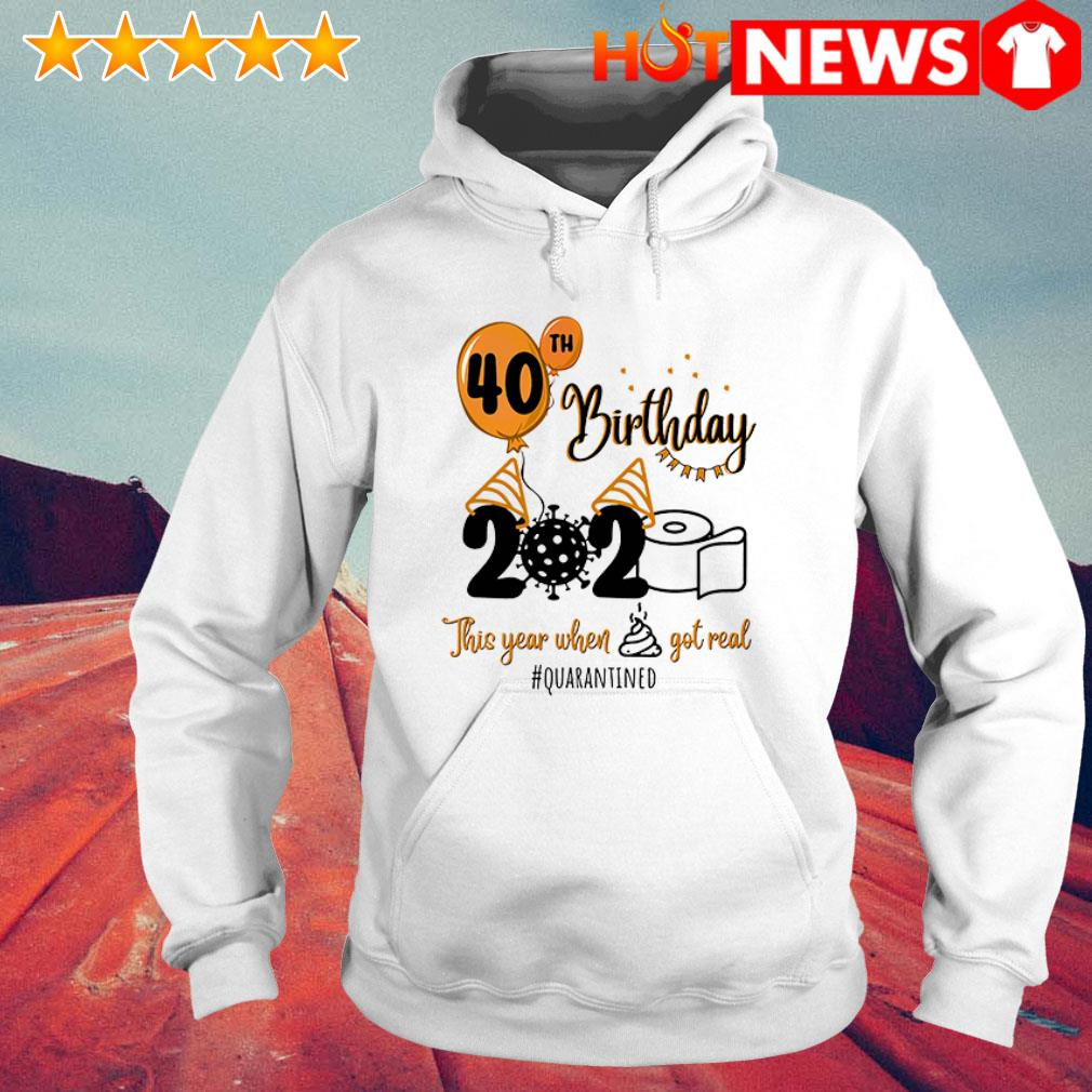 40th Birthday toilet paper 2020 this year when shit got real #quarantined Hoodie