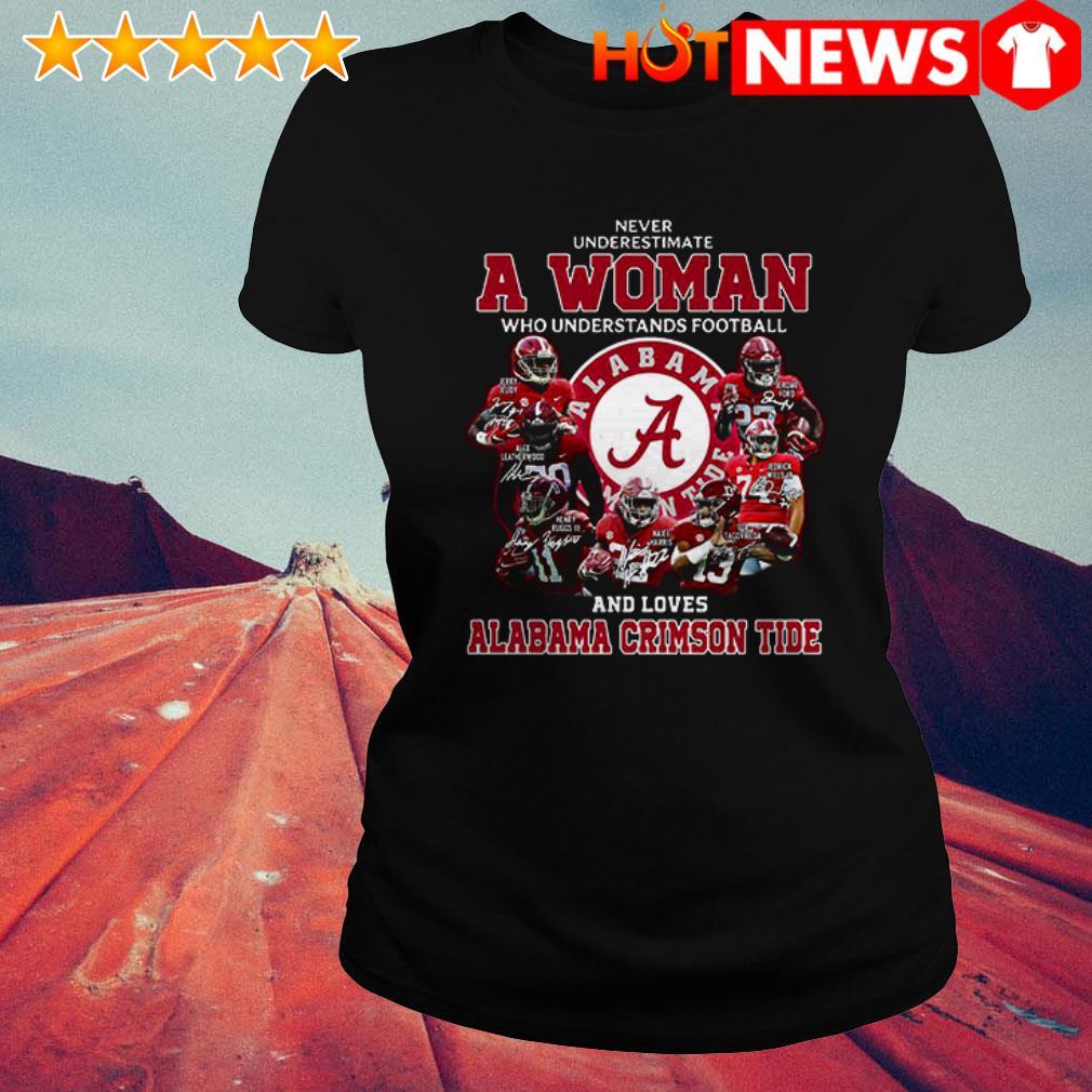 Alabama Crimson Tide never underestimate a woman who understands football Ladies Tee