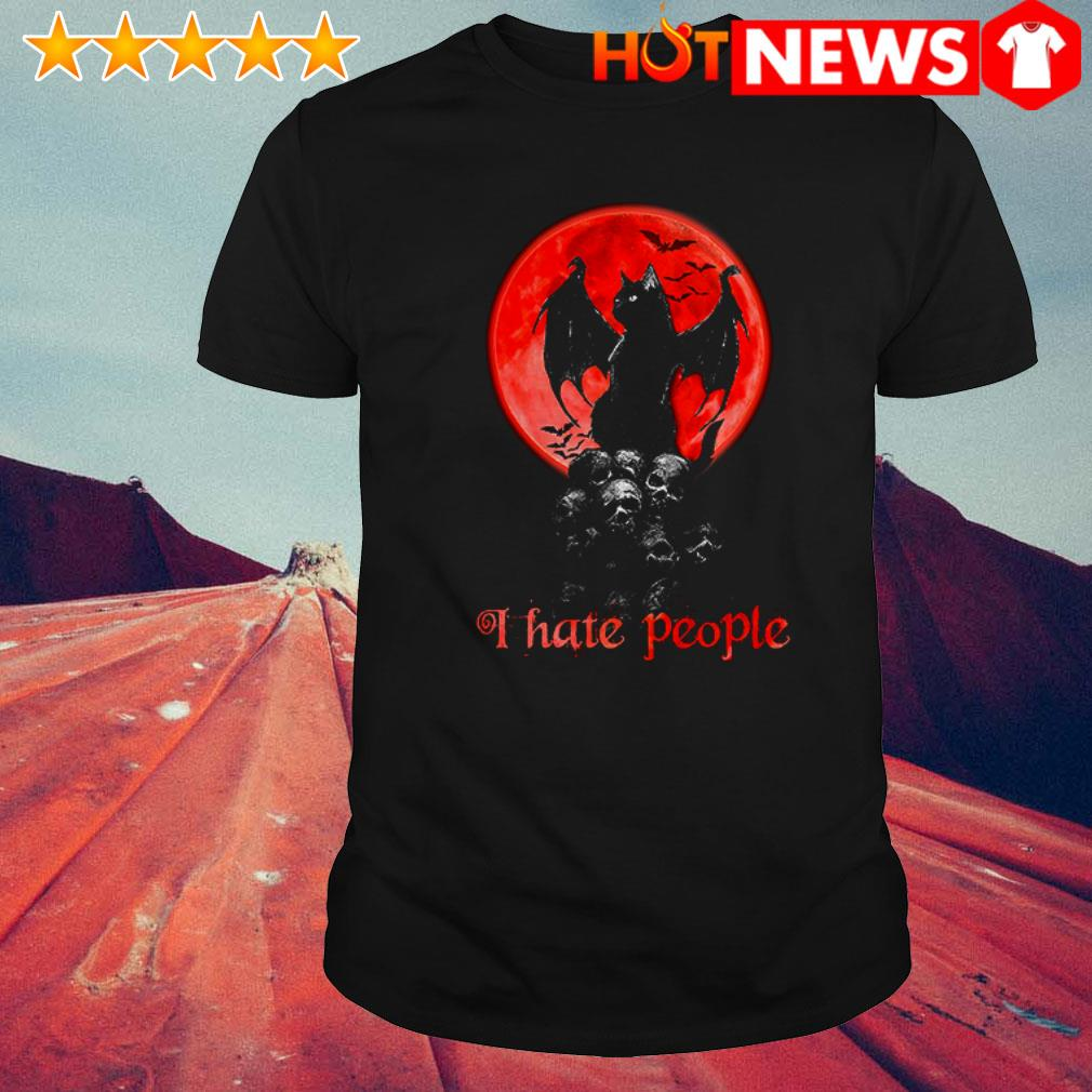 Black cat Blood moon I hate people shirt
