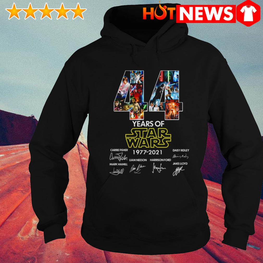 44 Years of Star Wars 1977-2021 Carrie Fisher Daisy Ridley Mark Hamill signatures Hoodie