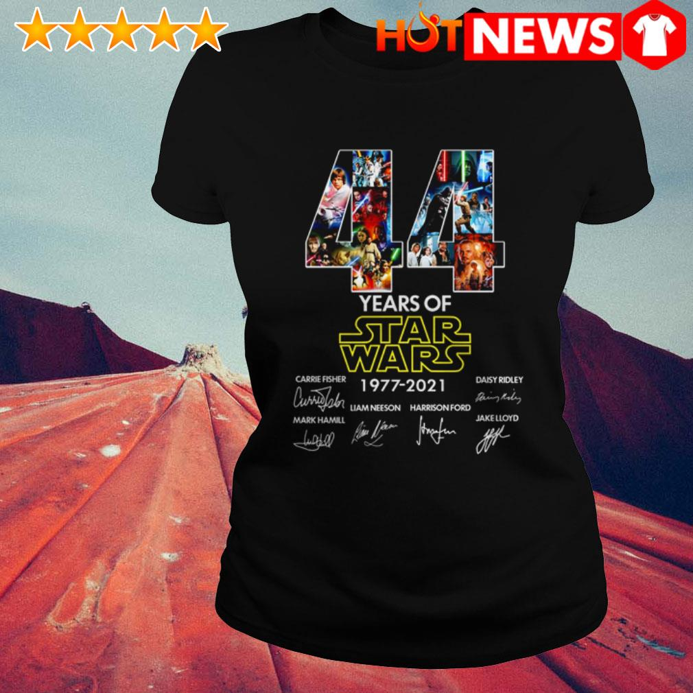 44 Years of Star Wars 1977-2021 Carrie Fisher Daisy Ridley Mark Hamill signatures Ladies Tee