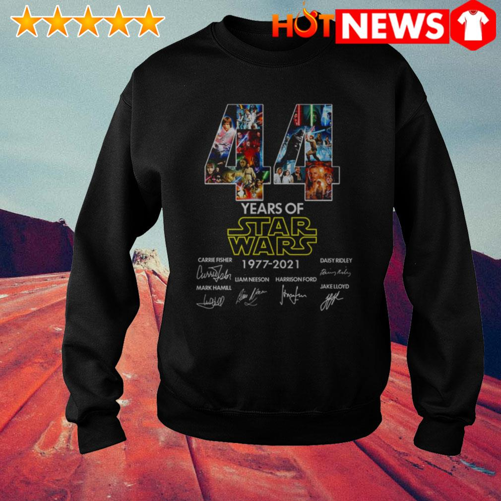 44 Years of Star Wars 1977-2021 Carrie Fisher Daisy Ridley Mark Hamill signatures Sweater
