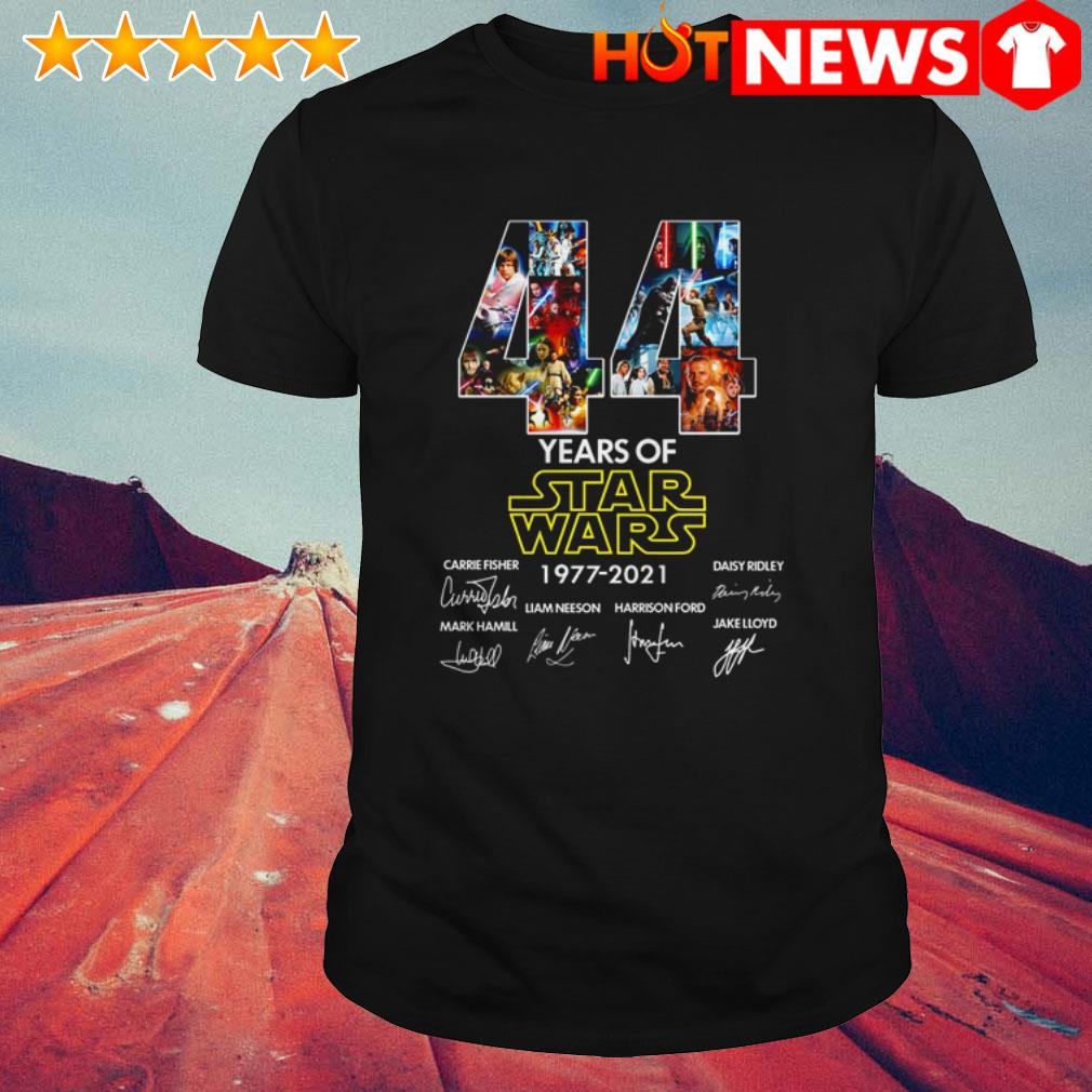 44 Years of Star Wars 1977-2021 Carrie Fisher Daisy Ridley Mark Hamill signatures shirt