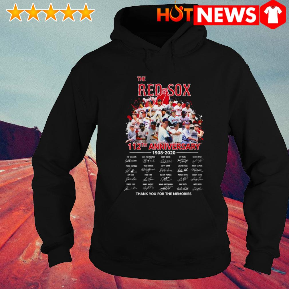 Boston Red Sox 112th Anniversary 1908-2020 team players signatures Hoodie