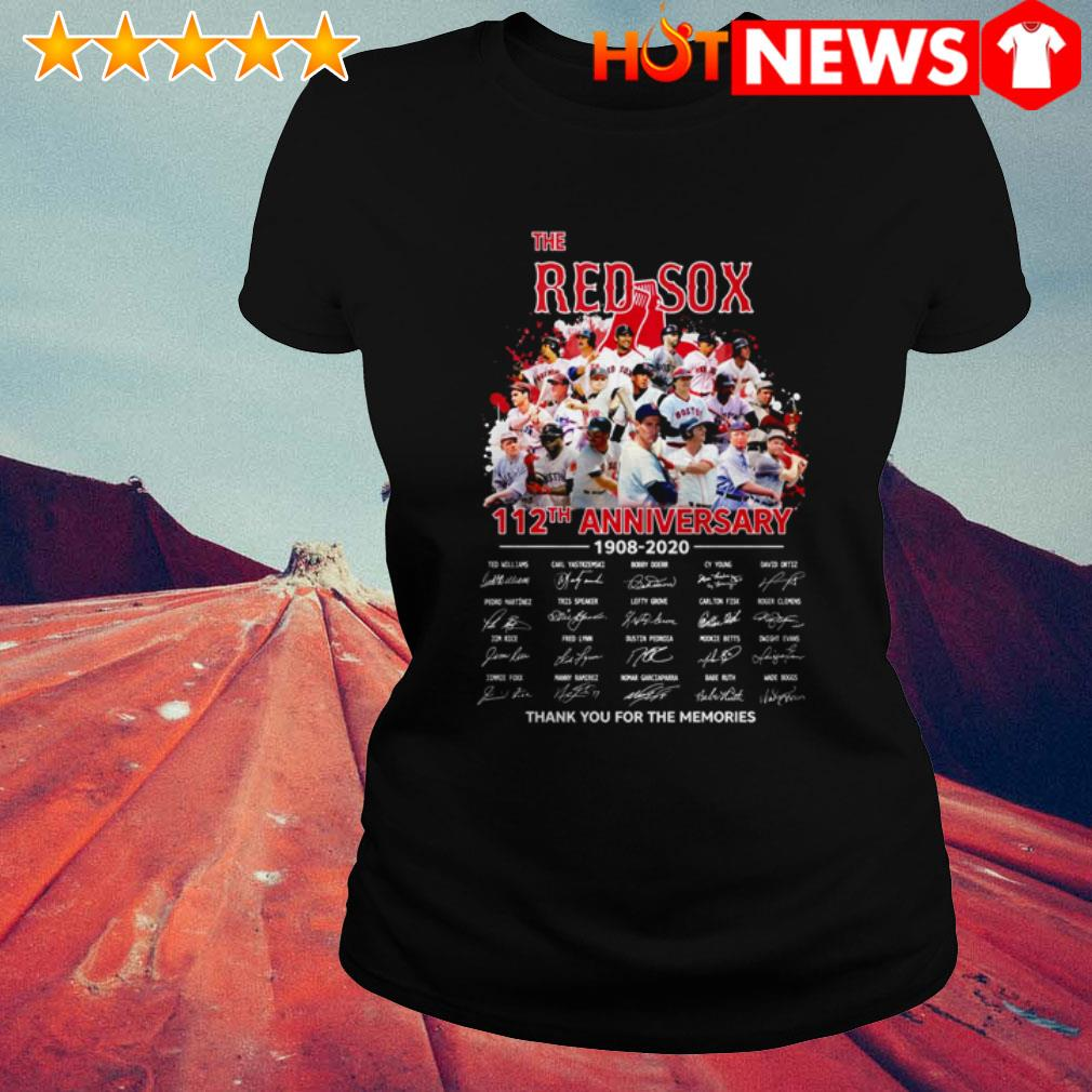 Boston Red Sox 112th Anniversary 1908-2020 team players signatures Ladies Tee