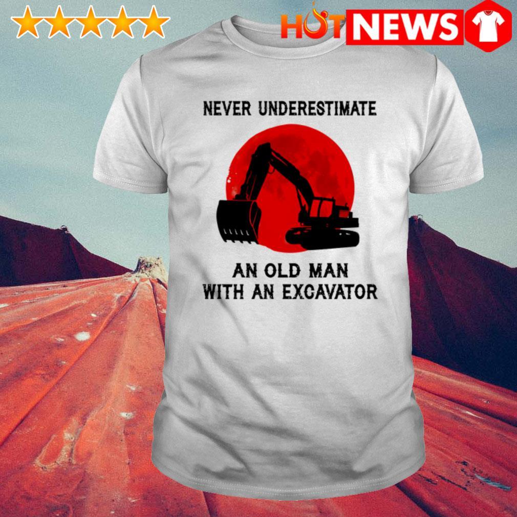 Excavator machine never underestimate an old man with an excavator shirt