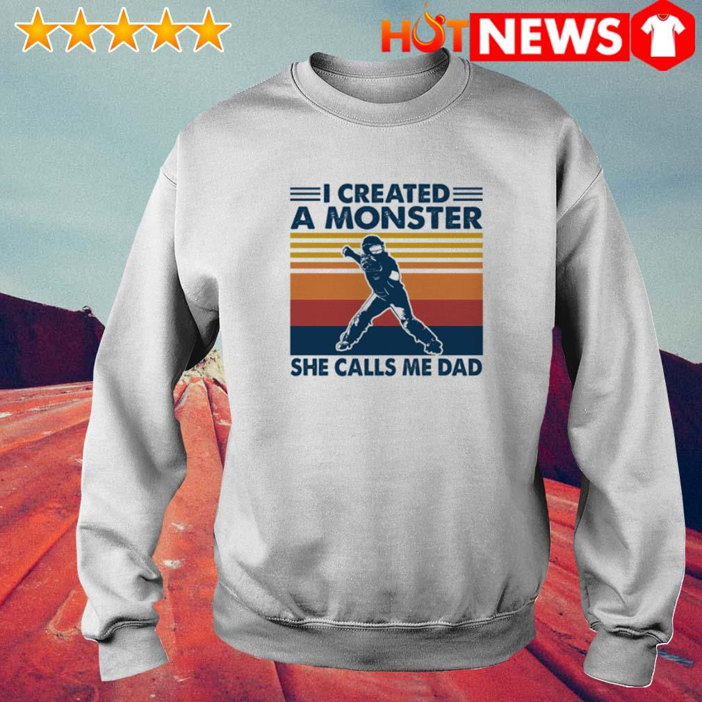 Hockey I created a monster she calls me dad vintage Sweater