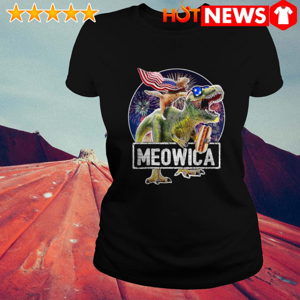 4th Of July Independence day Meowica Cat T-rex Dinosaur Ladies Tee