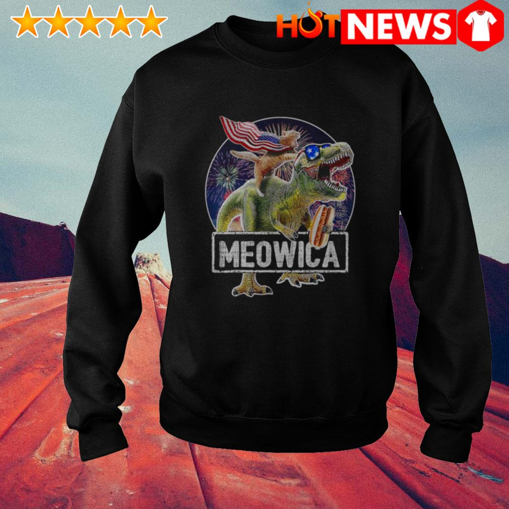 4th Of July Independence day Meowica Cat T-rex Dinosaur Sweater