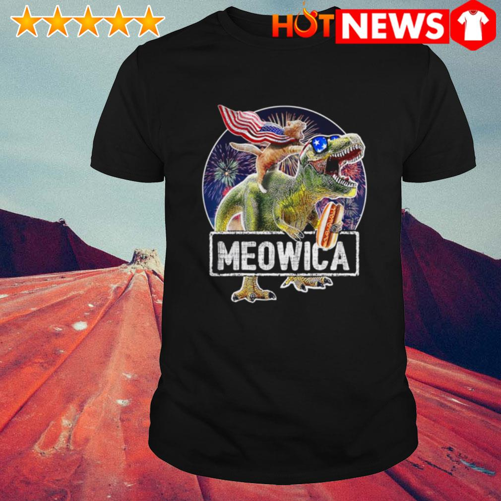 4th Of July Independence day Meowica Cat T-rex Dinosaur shirt