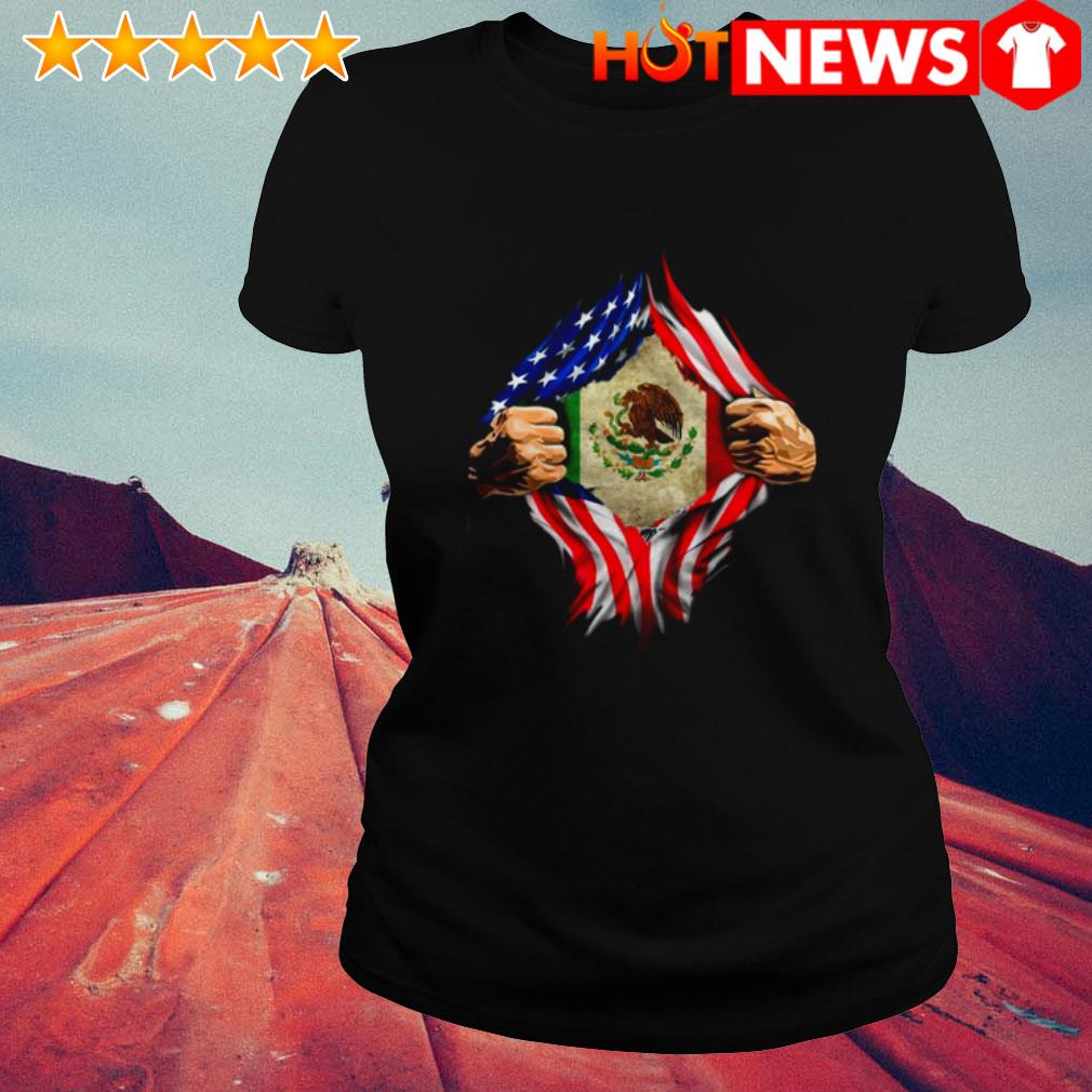 American Mexican Flag and blood inside me Ladies Tee