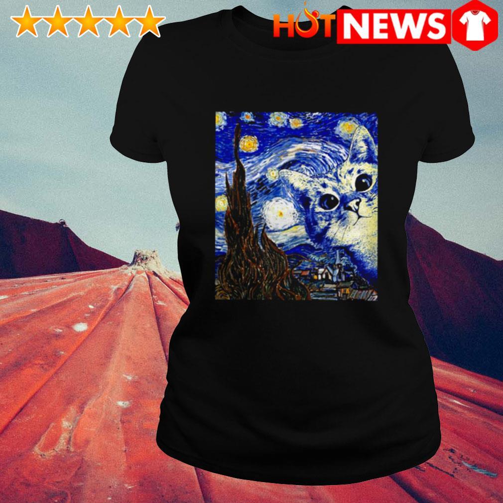 Cat Starry Night Van Gogh Ladies Tee