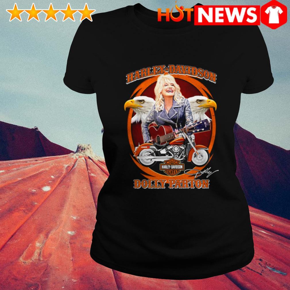 Dolly Parton play guitar Motor Harley-Davidson Cycles signature Ladies Tee