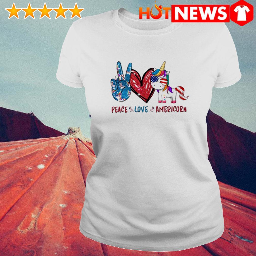 Peace love Americorn Unicorn Ladies Tee