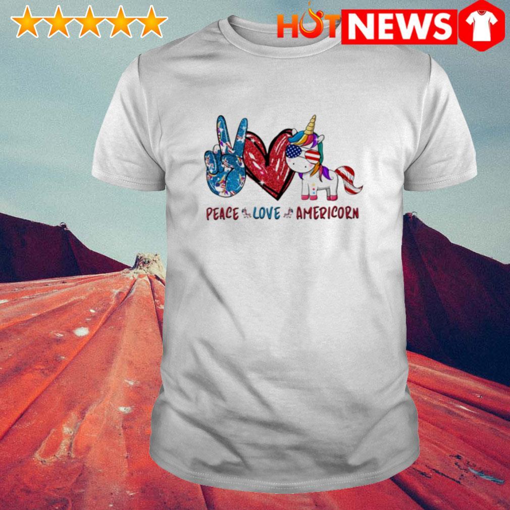 Peace love Americorn Unicorn shirt
